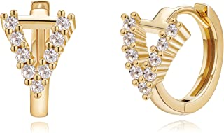 Tewiky Gold Initial Hoop Earrings for Women 18k Gold Plated Dainty Tiny Cubic Zirconia Initial Huggie Hoop Earrings Hypoal...