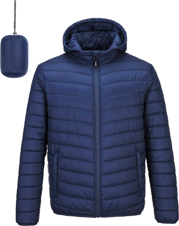 Outdoor Ventures Men's Lightweight Packable Hooded Puffer Jacket Insulated Winter Coat for Snow Ski Traveling