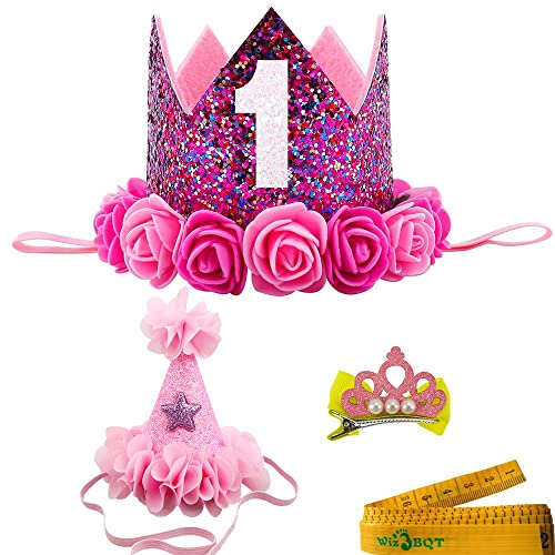 2 Pcs Adorable Cute Crown Shaped Cat Dog Pet 1 Year Birthday Headband And Pink Star