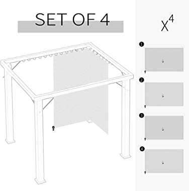 Outsunny 10' x 12' Universal Gazebo Sidewall Set with 4 Panels, Hooks/C-Rings Included for Pergolas & Cabanas, Gr