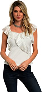 Pretty White Stretch Frilly Peasant Blouse Top Shirt Casual Office School