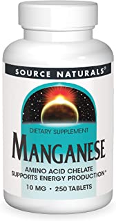 Source Naturals Manganese, Amino Acid Chelate - Supports Energy Production - 250 Tablets