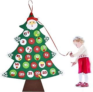 Christmas Tree Fabric Advent Calendar Christmas Felt Advent Calendar 24 Days Countdown Wall Hanging Decorations for Xmas Home Decor