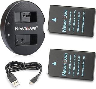 Newmowa EN-EL20 Batería de repuesto (2-Pack) y Kit de Cargador Doble para Micro USB portátil para Nikon EN-EL20Nikon EN-EL20aNikon 1 J1Nikon 1 J2Nikon 1 J3Nikon 1 S1Nikon 1 V3Nikon Coolpix ANikon 1 AW1