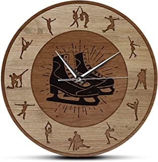 Wall Clocks Figure Skating Wood Texture Print Wall Clock Girls Bedroom Silent Hanging Wall Watch Winter Sport Home Decor I...