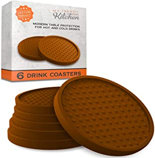 Large Drink Coasters - Absorbs Moisture and Prevents Table Damage, Modern Brown Rubber Coaster with Non-Slip Bottom for Drinking Glasses, 6 Pack