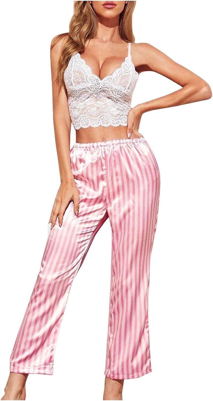 Forwelly 2 Piece Pajamas Set for Women Sexy Cami and Stripe Long Pant Nightwear Sleepwear Lingerie Set