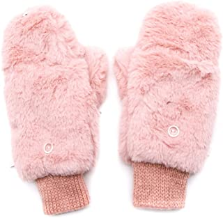 WSSROGY Winter Fully Lined Faux Fur Flip Cover Mitten Gloves Fingerless Gloves with Flip Cover for Women Girls(Pink)