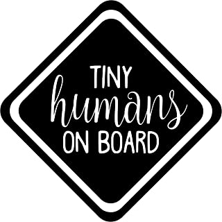 """Minglewood Trading White - Tiny Humans on Board 4"""" x 4"""" Vinyl Decal Sticker -Baby Infant Toddler Car Sign- 20 Color Options"""
