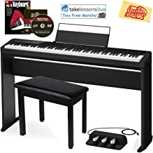 Casio Privia PX-S1000 Digital Piano - Black Bundle with CS-68 Stand, SP-34 Three Pedal System, Furniture Bench, Instructional Book, Online Lessons, Austin Bazaar Instructional DVD, and Polishing Cloth