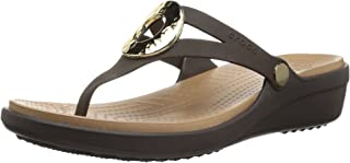 Crocs Women's Sanrah Hammered Metallic Wedge Flip Sandal