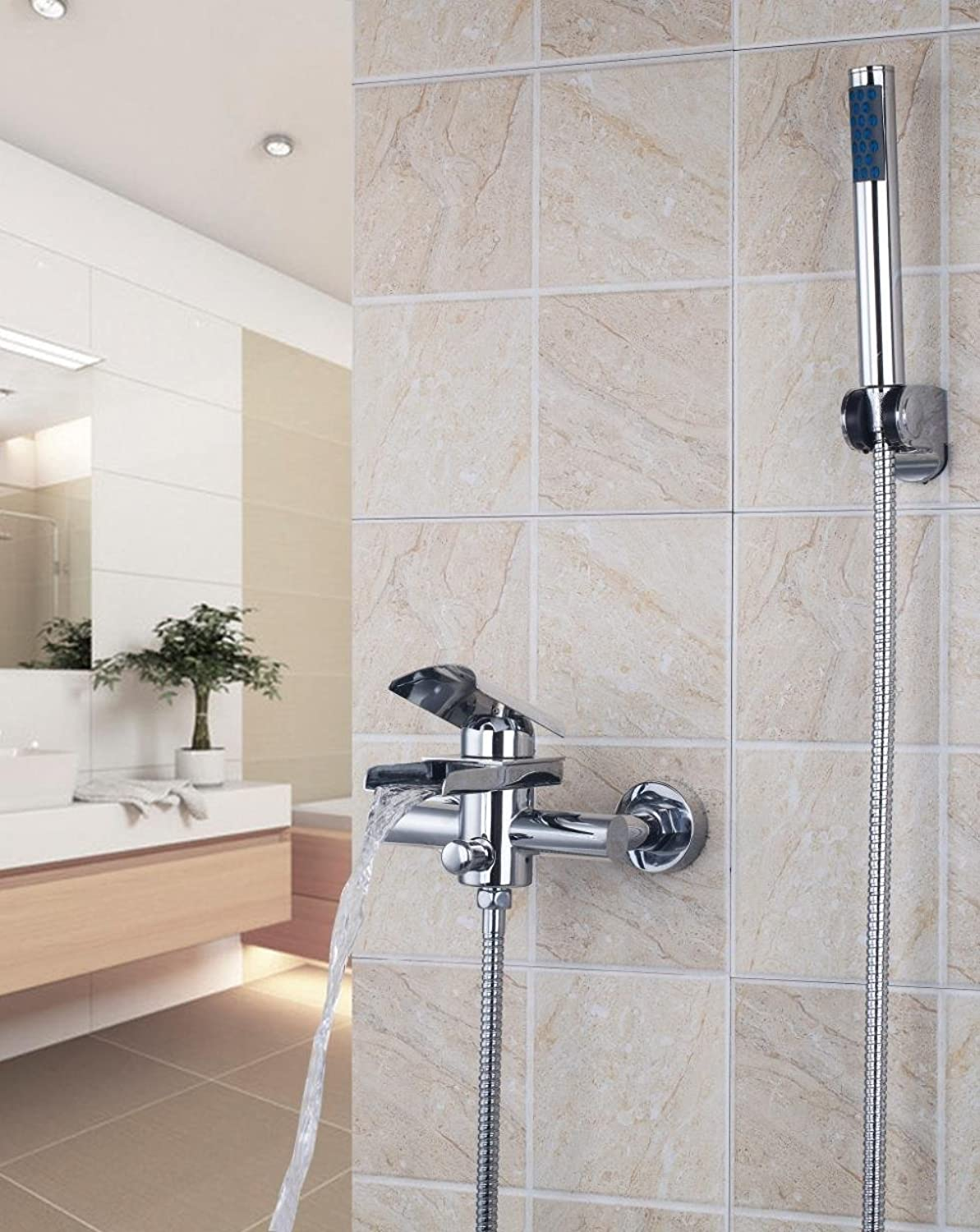 Width massively Brass Waterfall Faucet to The Wall Assembled with Hand-held Shower Faucet Mixer Dual Control Design Tiles