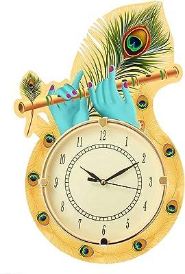 Crecimiento Arte Ajanta Wall Clock for Home Living Room Office Bedroom Decor Stylish, Decorative, 12 x 12 Inch, Wooden, Yellow,