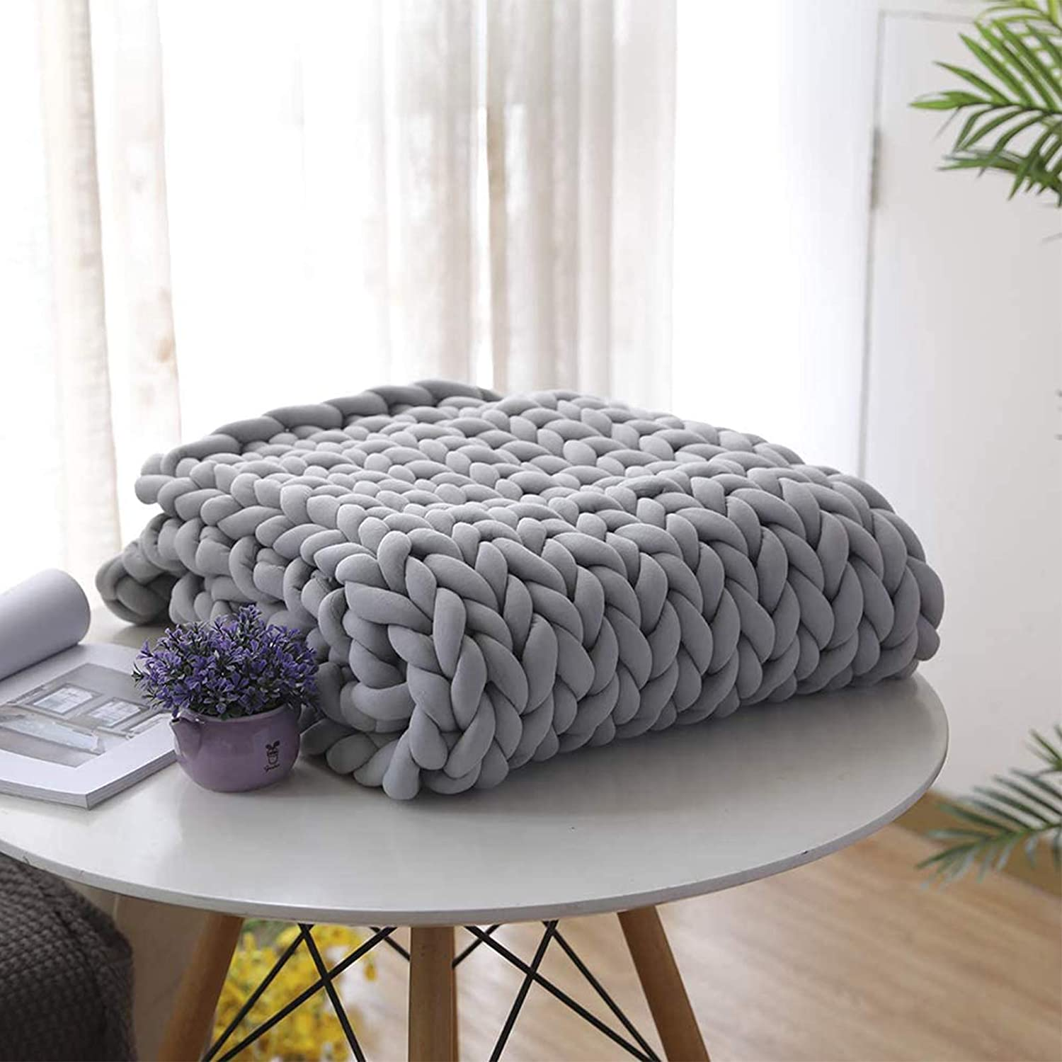 Challenge the lowest price of Japan ☆ Chunky Knit Blanket Throw Grey Gaint Knitted Blankets Limited Special Price Yarn Large