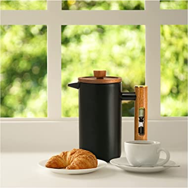 ChefWave Artisan Series French Press Coffee Maker - Stainless Steel, Double Wall Insulated with 4 Filter Screens, 34 oz. - Fo