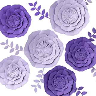 KEY SPRING 3D Paper Flower Decorations, Giant Paper Flowers, Large Handcrafted Paper Flowers (Purple, Lavender Set of 6) for Wedding Backdrop, Bridal Shower, Baby Shower, Wall Decor, Birthday Party