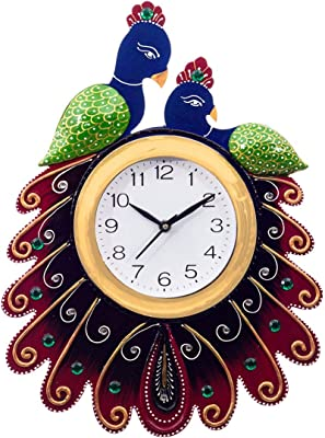 eCraftIndia Handcrafted 2 Peacocks Decorative Papier-Mache and Wooden Wall Clock (23 cm x 3 cm x 36 cm, KWC646)