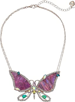 Purple and Rose Gold Butterfly Pendant Necklace