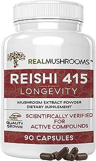 Real Mushrooms Reishi Mushroom Capsules for Longevity (90ct) Vegan, Non-GMO Reishi Extract, Reishi Mushroom Supplement for...