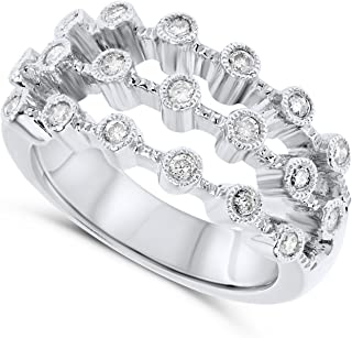 JewelryBliss 14k White Gold Three Band Bezel Set Diamond Cocktail Ring