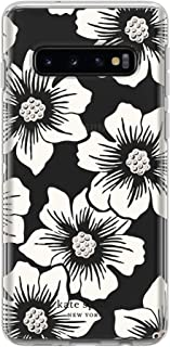 Kate Spade New York Phone Case | for Samsung Galaxy S10 Lite | Protective Clear Crystal Hardshell Phone Cases with Slim Design and Drop Protection - Hollyhock Floral Clear/Cream with Stones