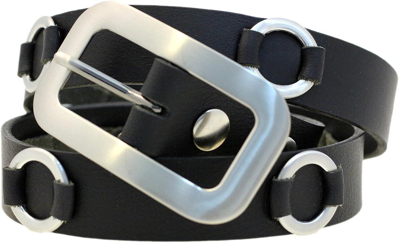 1 1 8 Ladies Fashion Belt Brushed Gun Metal Rings West Tan Black Buffalo Leather