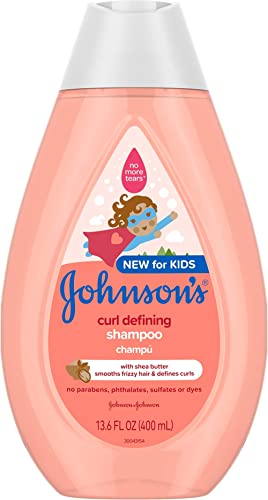 Johnson's Curl-Defining, Frizz Control, Tear-Free Kids' Shampoo with Shea Butter, Paraben-, Sulfate- & Dye-Free Formu...