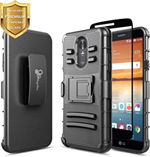 LG Stylo 4 Case, LG Stylo 4+ Plus/LG Q Stylus with Tempered Glass Screen Protector (Full Coverage), NageBee Belt Clip Holster Heavy Duty Armor Shockproof Kickstand Rugged Durable Combo Case -Black