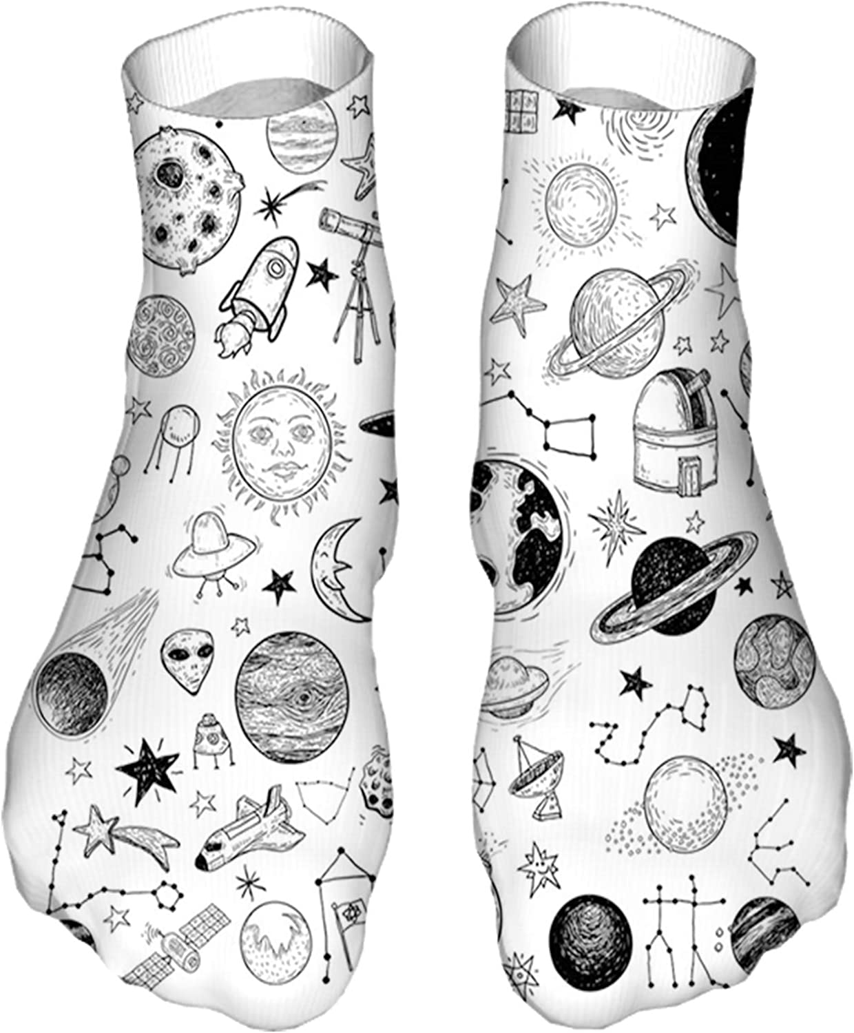 Men's and Women's Fun Socks Printed Cool Novelty Funny Socks,Hand Drawn Planets Asteroids Constellations Monochrome