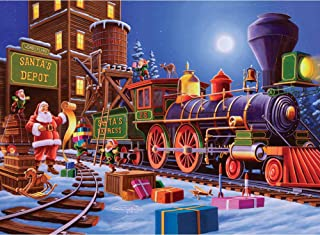 KoKoWill DIY 5D Diamond Painting Kit for Adults, Full Drill Square Crystal Rhinestone Embroidery Cross Stitch Home Wall Decor Art Craft Canvas,Santa Claus Express Christmas Train,15.75 x 11.81 inch