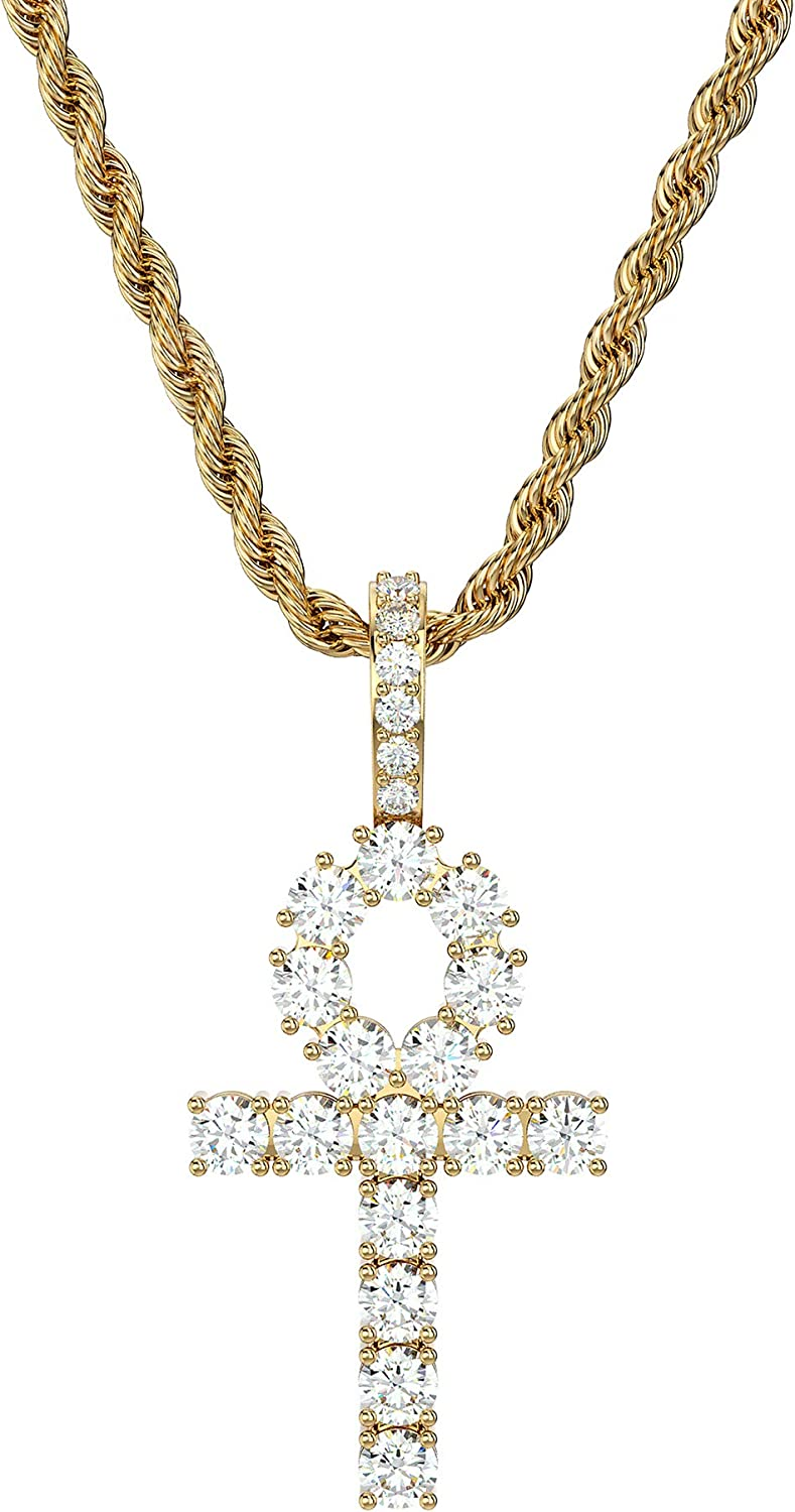 ICY FLARE - Premium Iced Out Hip Hop Egyptian Cross Ankh Pendant Necklace, 14K Gold Plated 3A CZ Diamond Egyptian Third Eye Rope Chain Collar Necklace, Perfect Egyptian Style Jewelry for Men & Women