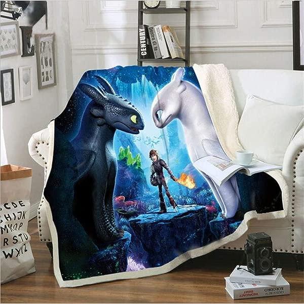 Lwfushi How To Train Your Dragon Blanket 3D Cartoon Print Blanket Warm Sofa Blanket Kids And Adults Leisure Wear Blankets Super Soft Sherpa Fleece Blankets Kids 51 X 59 Inch