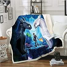 lwfushi How to Train Your Dragon Blanket 3D Cartoon Print Blanket Warm Sofa Blanket Kids and Adults Leisure Wear Blankets Super Soft Sherpa Fleece Blankets (Kids 51