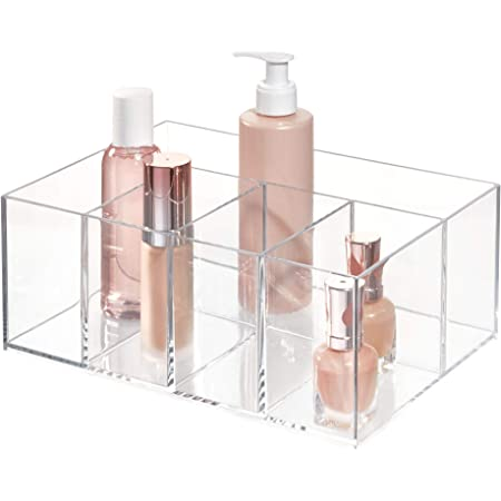 InterDesign Cabinet to Hold Makeup Beauty Products Hair Accessories – 5 Compartments, Clear Clarity Cosmetic & Vanity Organizer, 5 Section, White