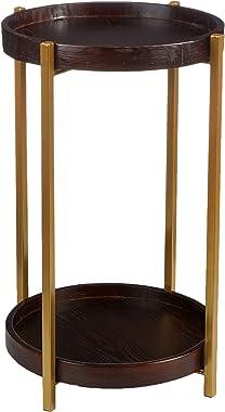 Marque Amazon - Rivet Table d'appoint ronde à 2étagères, 40x40cm
