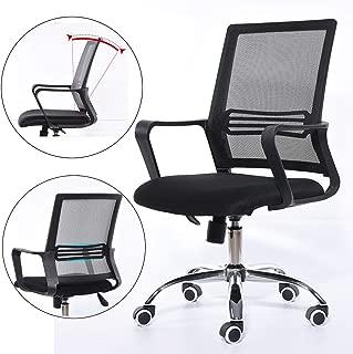 Desk Chair, Office Chair Adjustable Height Ergonomic Curved Backrest Design, Durable Computer Chair Padded Swivel Desk Chair for Home Office Study, Medium Back, Black,Black