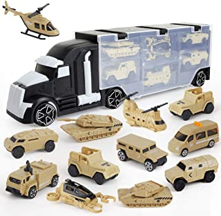 BeebeeRun 12 in 1 Army Transport Car Carrier Truck Toys,Military Vehicle Die-cast Truck Toys for Kids Boys and Girls