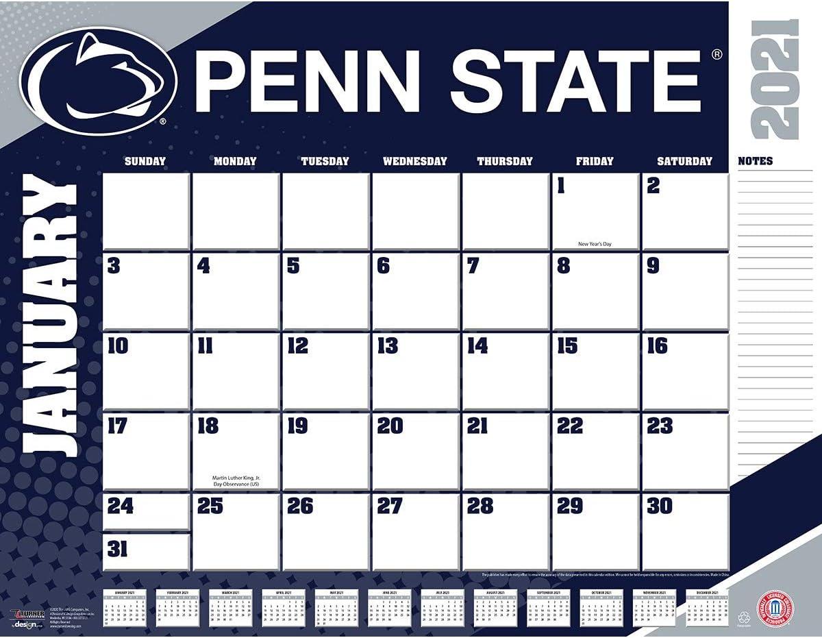 Psu Calendar Fall 2022.Amazon Com Turner Sports Penn State Nittany Lions 2021 22x17 Desk Calendar 21998061487 Office Products