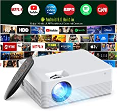 Projector Android 9.0, Smart Projector WiFi Bluetooth Outdoor Projector Wireless1080P Supported, 6000 Lumens Portable Vide...
