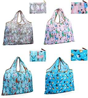 Reusable Grocery Bags, Large Foldable Washable Reusable Shopping Bags with Handles, Heavy Duty Ripstop Polyester Waterproo...