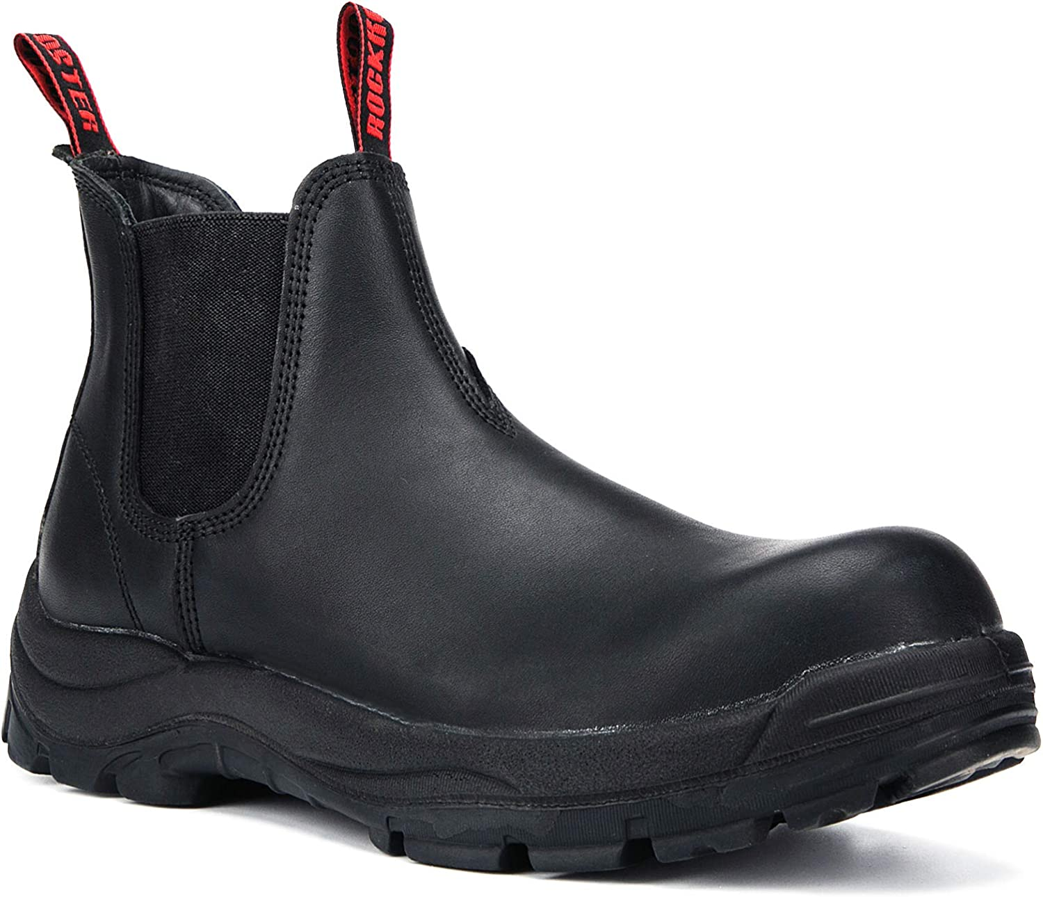 ROCKROOSTER Work Boots for Men, 6 inch Composite Toe, Slip On Safety Oiled Leather Shoes, Anti-Puncture,EH, Breathable, Water Resistant, Coolmax, Anti-fatigue(AK228, AK223)