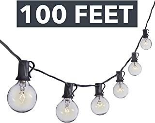 Sterno Home GL42958 100 FT Clear Globe Outdoor Lights, Feet, Black