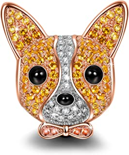Chihuahua Bolt Christmas Charms Gifts 925 Sterling Silver Charm Rose-Gold Plated Puppy Dog Charms Animal Bead with 5A Cubic Zirconia