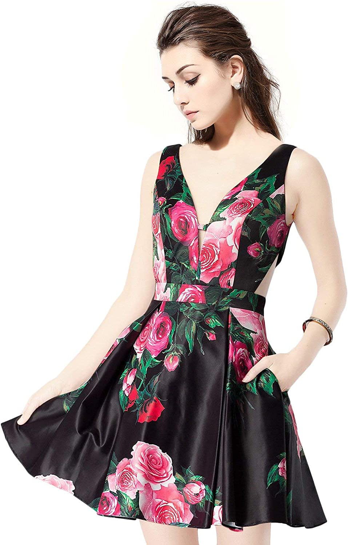 Scarisee Womens VNeck Short Homecoming Prom Party Dress Pocket Floral PrintSA83