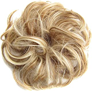 Funnygals - Hair Piece Hair Ribbon Ponytail Extensions Wavy Curly Donut Hair Chignons Wig Dark Hairpiece for Women/Lady