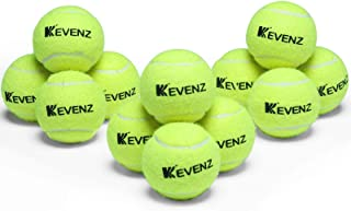 KEVENZ 12 Pack Competition Tennis Ball, Advanced Melton Nylon and Rubber Dog Toys, Keep Flight More Courts Play More Durab...