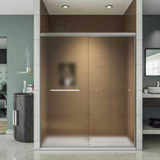 ELEGANT 58.5-60'' W x 72'' H Shower Door, Bypass Double Sliding Shower Glass Door, Semi-Frameless Shower Door with 1/4'' Frosted Glass, Brushed Nickel Finish