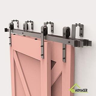 Homacer Sliding Barn Door Hardware Bypass Double Door Kit, 7FT Flat Track U-Shape Bracket Classic Design Roller, Black Rustic Heavy Duty Interior Exterior Use