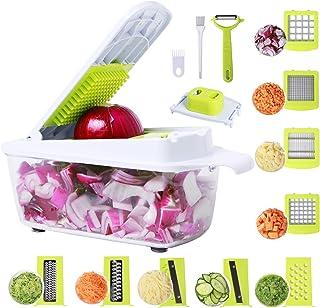 Vegetable Chopper 14in1 Food Chopper Onion Chopper Vegetable Cutter Mandoline Slicer Dicer Grater Peeler w/Large Container...
