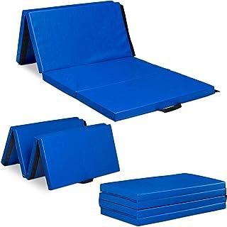 Relaxdays Gymnastikmatta 200 x 100 vikbar, 5 cm tjock, expanderbar, mjuk golvmatta för hemmet, handtag, vattentät, färgval